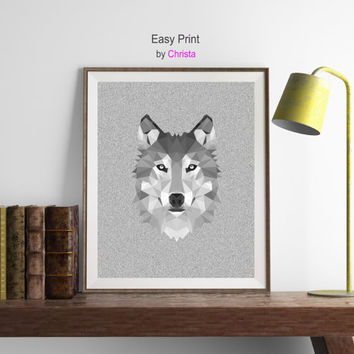 Wolf print, Wolf polygon, Wolf  printable, Grey Wolf  art, Modern minimalist ,Wall decor, Wolf geometric, Instant download, Wolf decor