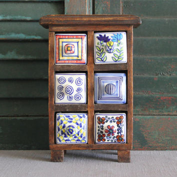 Wood spice chest with painted ceramic drawers, spice rack, spice storage, spice cabinet, tea bin, kitchen storage, craft storage, sewing