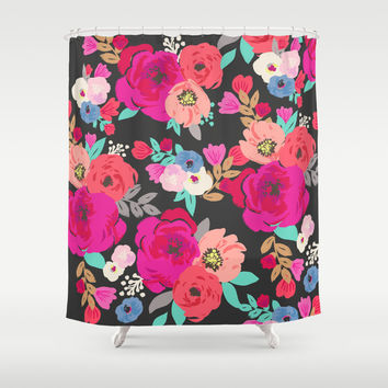 Sweet Pea Floral Black Bright Color Shower Curtain by Crystal ★ Walen