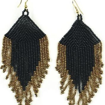 Ink + Alloy | SEED BEAD EARRING WITH FRINGE |  BLACK AND GOLD