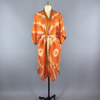 Silk Robe Kimono / Vintage Indian Sari / Orange Tie Dye / Long Robe / Wedding Lingerie