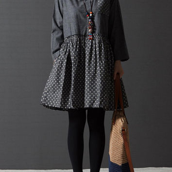 Polka dot gray round neck cotton long sleeve loose short shirt dress (ESR88)