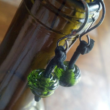 Upcycled wine bottle earrings Glass beads made from wine bottle Sterling silver