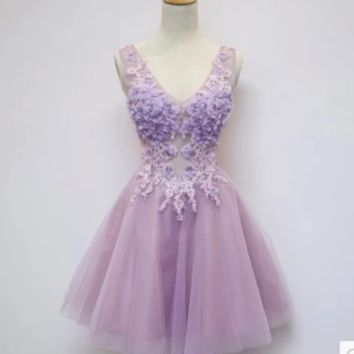 Pink Purple bridesmaid bride wedding dinner party short paragraph wedding dress new