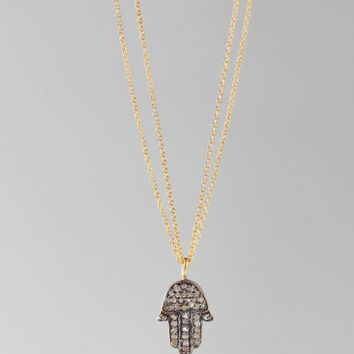"CHAN LUU 16"" Medium Hamsa Necklace in Yellow Gold"