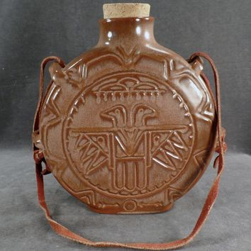 Vintage Frankoma Pottery - Old Thunderbird Canteen In Brown Satin Glaze with Leather Strap