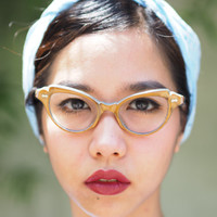 Vintage  Eyeglasses Cat eye Frames 1960's New Old Stock Multi color Multi Layered Plastic