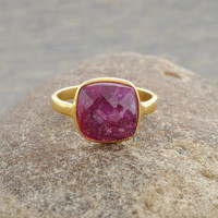 Genuine Ruby Cushion 10mm Micron Gold Plated 925 Sterling Silver Ring - #1043