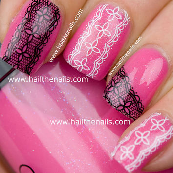 Black & White Lace Nail Art Water Transfer Decal