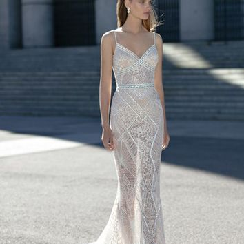 Berta Beaded Sheer Lace Column Dress (In Stores Only) | Nordstrom