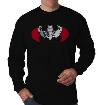 Alabama Crimson Tide Inspired Batman Logo Long Sleeve Men's T-Shirt Long Sleeve Men's Tees Men's Shirt