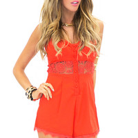 LACEY LACE DETAIL ROMPER - Red