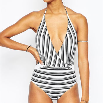 Deep V Black White Stripe One Piece Swimsuit