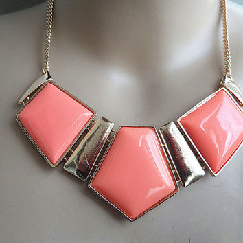 Statement Necklace ,Coral Gold Necklace,Statement BibNecklace,--bridesmaid gifts/Bridesmaids Jewelries, Birthday Gifts/ Trends Accessories
