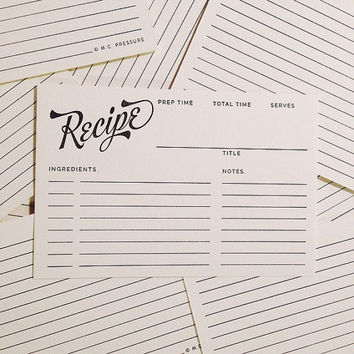 Letterpress Recipe Cards - Bakers Dozen (13 Count)