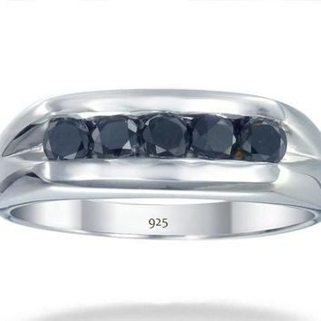 0.80 Carats Sterling Silver Men's 5 Stone Black Diamond Engagement Ring