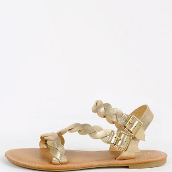 Bamboo Caleb-11 Metallic Braided Flat Sandals | MakeMeChic.com