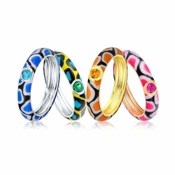 Multi-color Stones Eternity Ring 925 Sterling Silver Fashion Colorful Enamel Ring