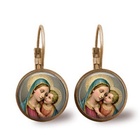 Madonna Earrings Virgin Mary Child Jesus Religious Earrings