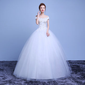 2016 New Lace vestidos de novia Bridal Gowns Scoop Beading Wedding Dresses A-Line Appliques Petite Wedding Pleat Elegant