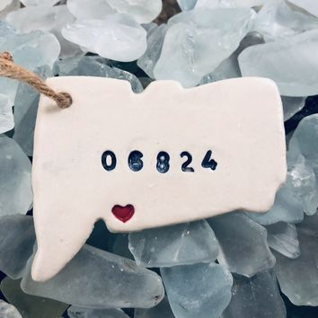 Connecticut State Heart Zip Code Ceramic Ornament - Fairfield - 06824