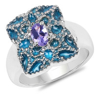 0.44 Carat Genuine Tanzanite .925 Sterling Silver Ring