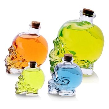Crystal Skull Decanter Liquid Glass Bottle With Wooden Cork