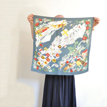 vintage Swedish provinces scarf . Scandinavian Sweden country map accessory