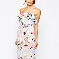 Bardot Bandeau Frill Pencil Dress In Floral Check Print