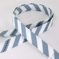 Fabric Lanyard - ID Badge and Key Ring - Moda Fabric - Grey and White