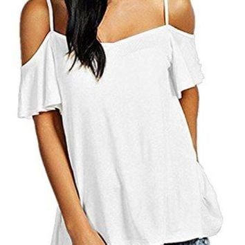 BBX Lephsnt Womens Summer Off The Shoulder Top Ruffles Sleeve Sexy Blouse Flowy Spaghetti Strap Swing Tops