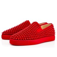 Christian Louboutin CL Roller-boat Men's Flat Rougissime Suede 12s Sneakers Best Deal Online
