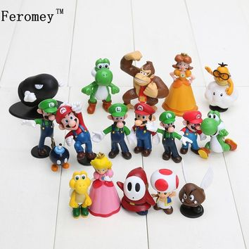 Super Mario party nes switch 18pcs/lot  Bros PVC Action Figures Toys Yoshi Peach Princess Luigi Shy Guy Odyssey Donkey Kong Model Figure Dolls AT_80_8