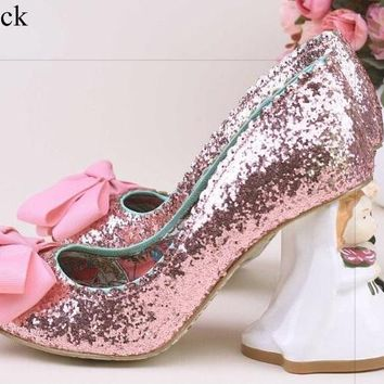Pink Glittering Sequins Pumps Women Sip-on Heels Cute Butterfly-knot Decorated Bride Groom Shape Doll Heel Pumps Wedding Shoes