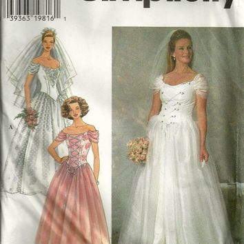 Evening Dress Pattern Wedding Gown Simplicity by debspatterns55