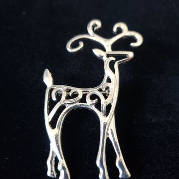 Estate Jewelry - Silver Reindeer Brooch