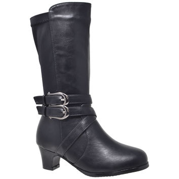 Kids Knee High Boots Faux Leather Buckle Straps Low Heel Riding Shoes Black