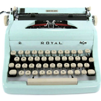 1955 Baby Blue Royal Quiet DeLuxe Typewriter with Original Case and Vintage Metal Ribbon Spools