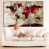 Red Black WORLD MAP Canvas Print on Old Wall - Vintage Large Size World Map Canvas Painting