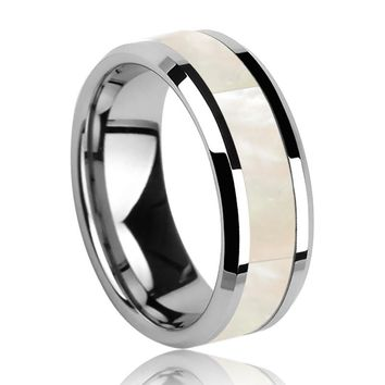 Tungsten Carbide Ring with White Mother of Pearl Inlay