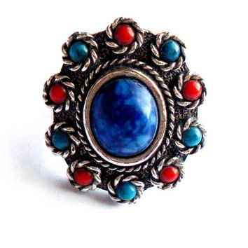 Vintage Sarah Coventry Navajo Ring Adjustable Faux Lapis Turquoise Coral Silver Tone Southwestern