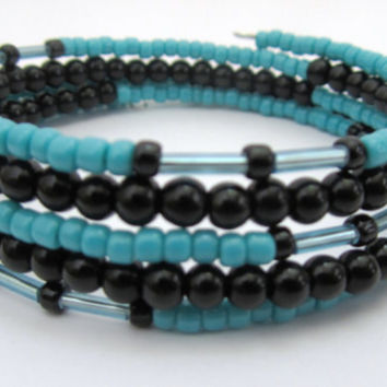 Turquoise and Black Memory Wire Bracelet