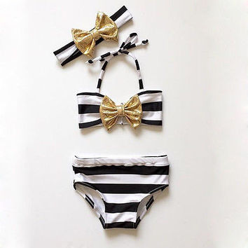 Baby Girls Striped Bow Bikini Set Swimwear Swimsuit Swimming Bathing Beachwear