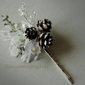 Hair Pins Pine Cone Hair Pin Winter Wedding Bridal Woodland Wedding Hair Accessory Wedding Hair Comb