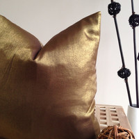 "Bronze / Gold pillow cover - Home Decor - Decorative Pillow- bronze fabric - 16""x16""- bedroom pillow - couch pillow"