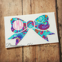 Bow Decal and Bow Monogram, Car Decal, Vinyl Decal, Yeti Cup Monogram, Personalized Gift, iPhone Decal, Lilly Pulitzer Inspired, Paisley
