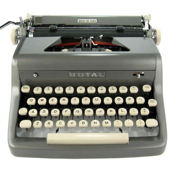 MINT 1955 Royal Quiet DeLuxe Typewriter in RARE Glossy Gun Metal Grey w/Original Case & Manual w/ Vintage Metal Ribbon Spools