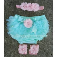 Pink and Aqua Bloomer Set - Pink and Aqua First Birthday Outfit - Cake Smash - Aqua bloomers - Newborn Bloomers, Pink, Teal, Ruffle Bloomers
