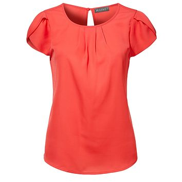 LE3NO Womens Lightweight Round Neck Short Sleeve Pleated Chiffon Blouse Top