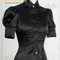 Night Glory Classic Elegant Lolita Dull Silk Short Sleeves Blouse & Jabot*3colors Instant Shipping